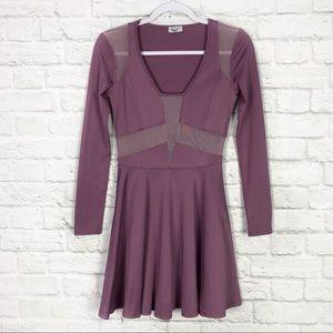 TOBI Purple Sheer Panel Deep Cut LongSleeve Dress